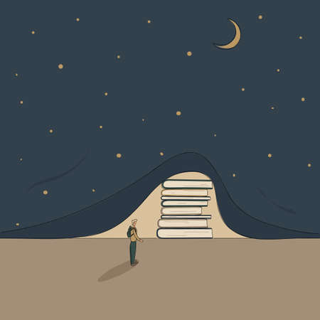 Concept: book is source of knowledge.Stack of books lifted curtain of darkness in form of night sky with moon and stars and showed light. Tiny man ready to immerse himself in reading Hand drawn raster