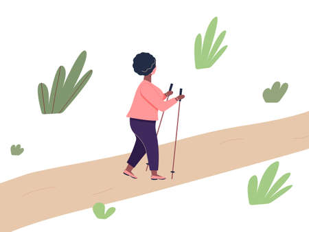 Elderly african woman is engaged in Nordic walking with sticks on path in the park. Old plump fashionable black woman walk on foot in the open air adhering to healthy lifestyle.Vector illustration