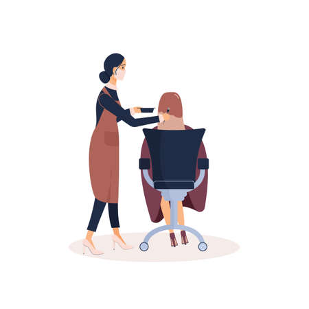 Adorable friendly lady hairdresser in pink protective face mask dyes hair of female client sitting in chair. Vector illustration in cartoon style for ad of beauty salon.Workplace of barber or stylist