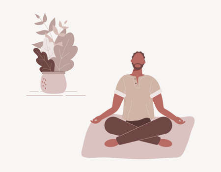 Afro-american man sitting with his legs crossed on floor and meditating. Young guy in yoga posture doing meditation, mindfulness practice, spiritual discipline at home.Flat vector illustration Vecteurs