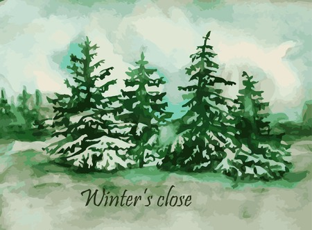 Watercolor fir-trees for a card