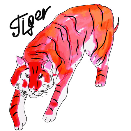 barking: Watercolor tiger