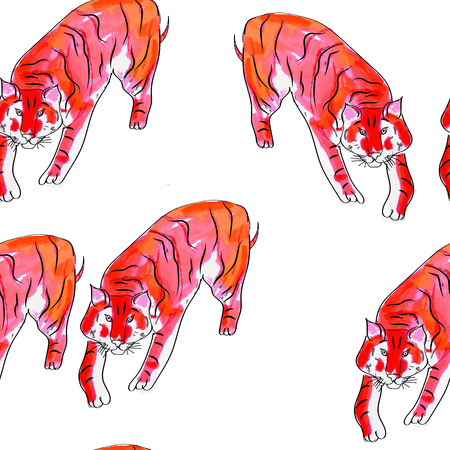 手のシームレスな水彩画のパターンには、虎が描かれています。