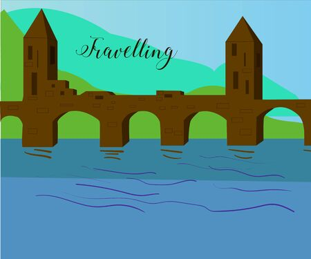 bleached: Vector drawn bridge with towers, river and hills behind