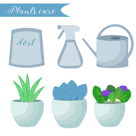 watering pot: Vector set of indoor plants care icons: package of soil, flowerpots, watering pot, spray. Flat style.