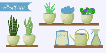 flowerpots: Vector set of indoor plants care icons: package of soil, flowerpots, watering pot, spray. Flat style.