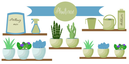flowerpots: Vector set of indoor plants care icons: package of soil, fertilizer, flowerpots, measuring glass, watering pot, spray. Flat style.