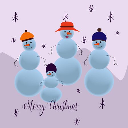 stovepipe hat: Snowmen family wearing hats and wishing Merry Christmas. Illustration
