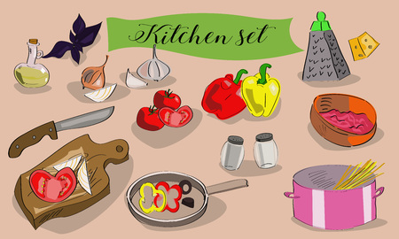 spaghetti bolognese: set of kitchen utensils and ingredients. Hand drawn. Illustration