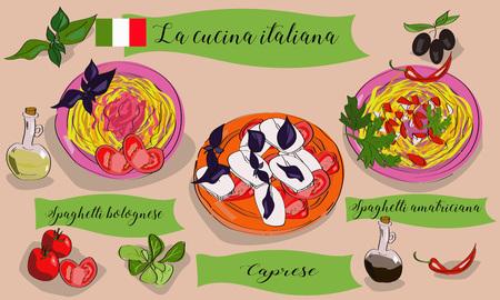 Vetcor menu of Italian dishes. Caprese, spagghetti bolognese, amatriciana. La cucina italiana.
