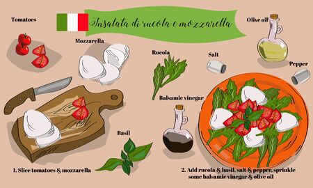 Step by step insalata di rucola e mozzarella recipe with hand drawn ingredients. Italian cuisine.