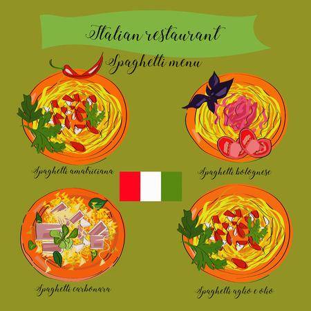 Spaghetti menu for italian restaurant, carbonara, bolognese, aglio e olio, amatriciana. Traditional cuisine. Illustration