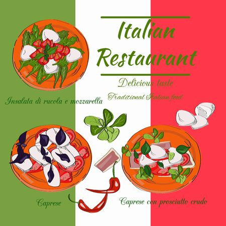 Italian restaurant top view frame. Food menu design. Vector drawn sketch illustration.
