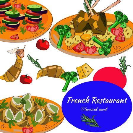 French restaurant top view frame. Food menu design. Vector drawn sketch illustration. Illustration