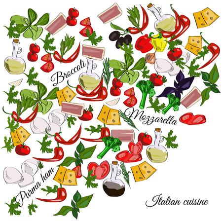 Italiaanse keuken bovenaanzicht frame. Eten menu design. Vector getrokken schets illustratie. Stock Illustratie
