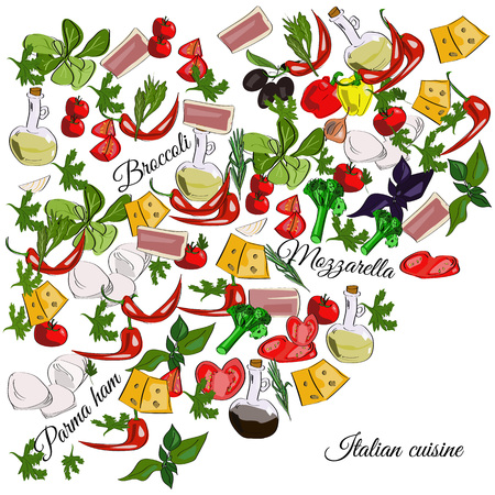 Italian cuisine top view frame. Food menu design. Vector drawn sketch illustration.