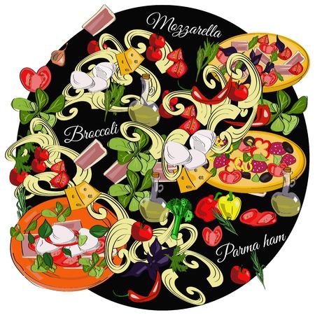 Italian cuisine top view frame. Food menu design. Vector drawn sketch illustration.