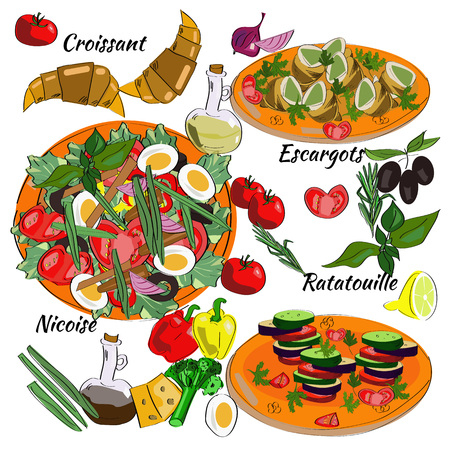 Traditional dishes of French cuisine. Nicoise, Ratatouille, Escargots, Croissant. Illustration