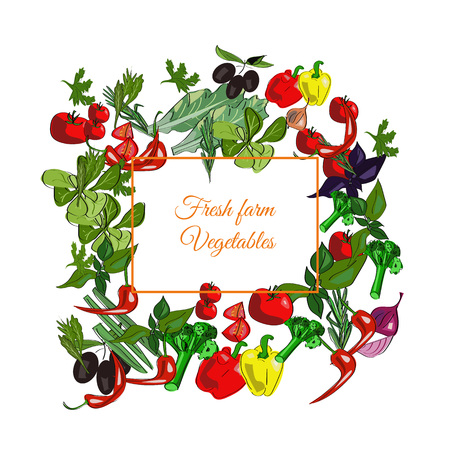 Fresh farm vector drawn vegetables on a white background.