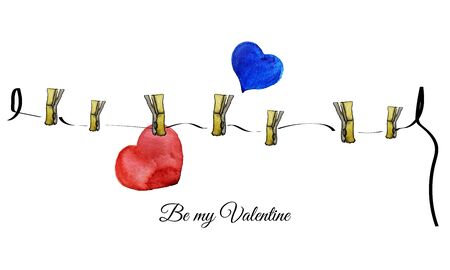 corazones azules: Acuarela carta robada para febrero 14. Corazones rojos y azules.