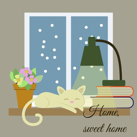 sweet home: Home, sweet home vector drawn card. Funny illustration.