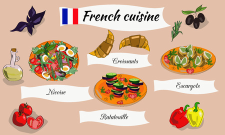traditional french: Vector set menu of French dishes. Traditional French food. Illustration