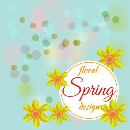 Beautiful spring flowers collection. Vector drown isolated narcissus. Template for invitation, wedding, greeting card or print. Spring floral design.