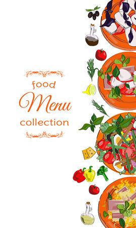 Vertical banner with dishes. Restaurant menu, cafe design. Illustration