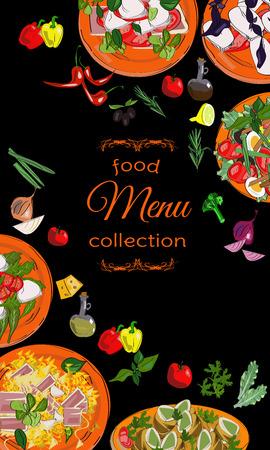Vertical salads menu with hand drawn dishes and ingredients. Restaurant menu design. Illustration