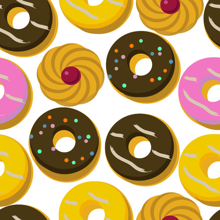 Seamless pattern of donuts and pastry. Vector illustration. Illustration