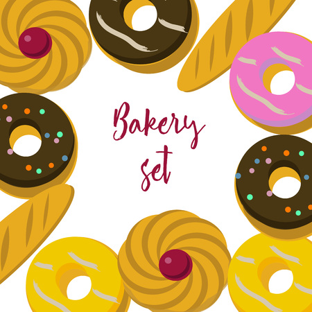 Bakery set of pastry and donuts. Vector illustration.