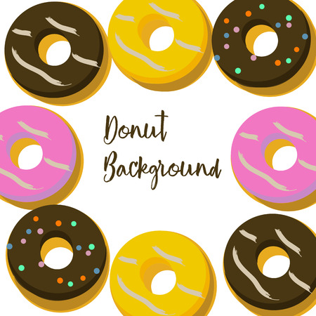 Bakery set of donuts background. Vector illustration. Illustration