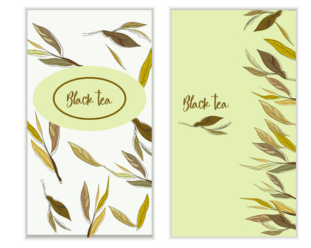 backgroud: Vector black tea banner with tea leaves on white backgroud. Design for packaging, tea shop, drink menu, homeopathy and health care products.