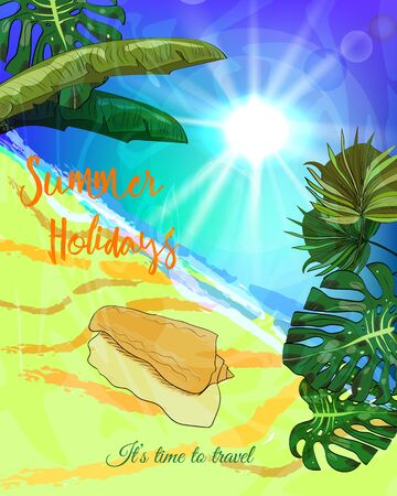 Summer holidays poster. Ocean beach with tropical leaves and seashell. Vector illustration. Illustration