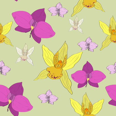Tropical hand drawn exotic collection seamless pattern with orchids flowers.