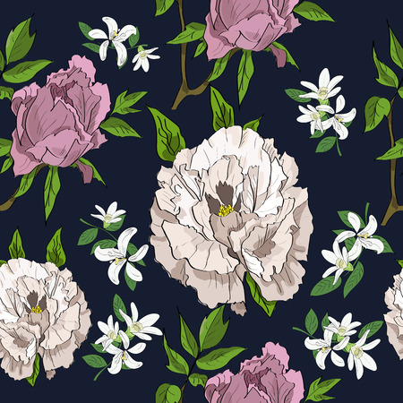 Seamless hand drawn pattern of rose and white peonies and flowers on dark background. In a sketch style.