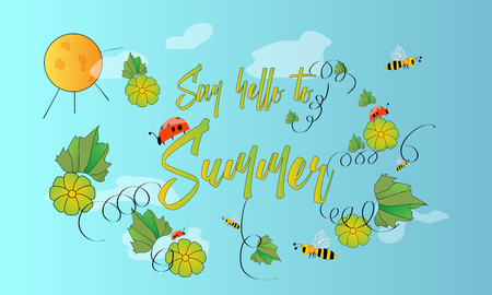 Hand drawn floral composition with flowers and leaves and funny bees and ladybirds. Sketch style. Say hello to summer.
