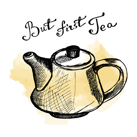 Hand drawn tea-pot on watercolor background with But first tea lettering.