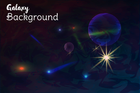 Galaxy space background with sparkling stars, rays and meteorites on cosmic background. Illustration