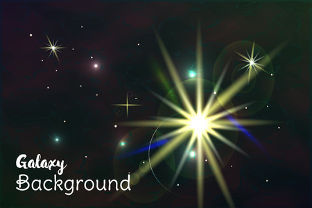 meteorites: Galaxy space background with sparkling stars, rays and meteorites on cosmic background. Illustration