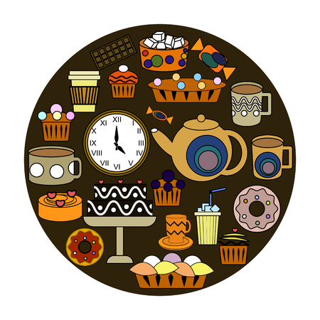Vector set of five oclock tea time elements. Teapot, cups, sweets, cakes, pastry, donut, chocolate. Иллюстрация