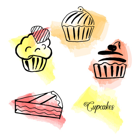 Vector set of hand drawn tea time collection. Cupcakes, muffins, desserts, cakes. An idea for design, teashop. Watercolor background. Ilustrace