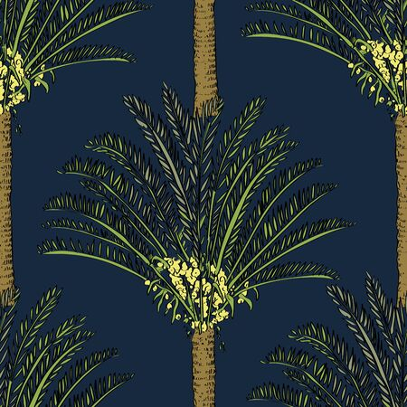 Pattern on blue in a sketch style. Exotic collection.