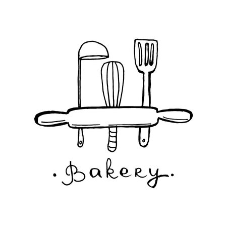 Design del logo del panificio. Un'idea per caffè, Bakeshop, negozio di maffine, dessert. Disegno disegnato a mano.