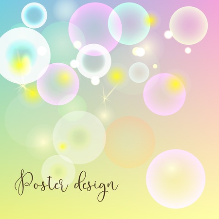 Poster design template with soap bubbles. Vector design template.