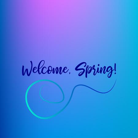 Welcome spring vector background. Blue and violet banner design.