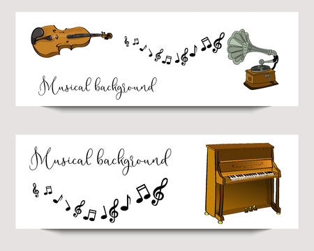Horizontal vector banners for musical festival with hand drawn instruments.