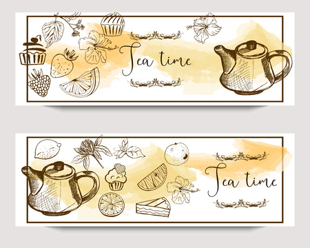 Vector horizontal tea time banners with hand drawn tea shop elements on watercolor background.