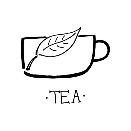 Tea logo design. Design for packaging, tea shop, drink menu, homeopathy and health care products. Hand drawn design.  イラスト・ベクター素材
