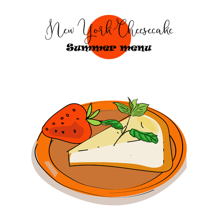 Hand drawn vector illustration of New York Cheesecake in sketch style. An idea for summer menu.